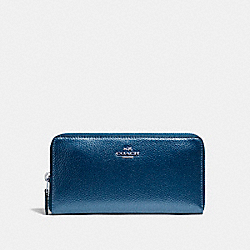 COACH ACCORDION ZIP WALLET - SILVER/METALLIC NAVY - F20145