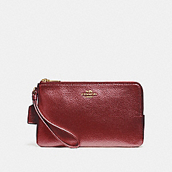 COACH DOUBLE ZIP WALLET - LIGHT GOLD/METALLIC CHERRY - F20146