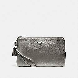 COACH DOUBLE ZIP WALLET - SILVER/GUNMETAL - F20146