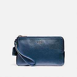 COACH DOUBLE ZIP WALLET - SILVER/METALLIC NAVY - F20146