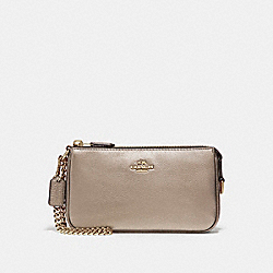 COACH LARGE WRISTLET 19 IN METALLIC PEBBLE LEATHER - LIGHT GOLD/PLATINUM - F20151