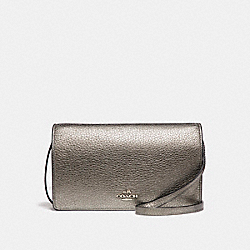 COACH FOLDOVER CLUTCH CROSSBODY IN METALLIC PEBBLE LEATHER - SILVER/GUNMETAL - F20152