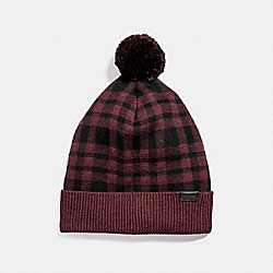 COACH PLAIN POM POM HAT - OXBLOOD - F20156