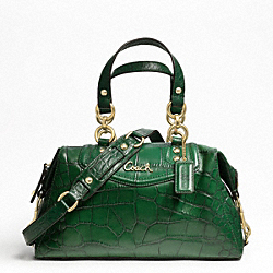 ASHLEY EMBOSSED CROC SATCHEL