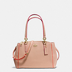 COACH SMALL CHRISTIE CARRYALL IN CROSSGRAIN LEATHER WITH MULTI EDGEPAINT - IMITATION GOLD/NUDE PINK MULTI - F20476