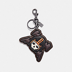 SKULL AND LIGHTNING BOLT KEY RING - f20477 - CORAL