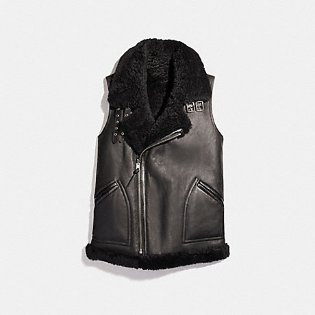 COACH REVERSIBLE SHEARLING VEST - BLACK/BLACK - f20480