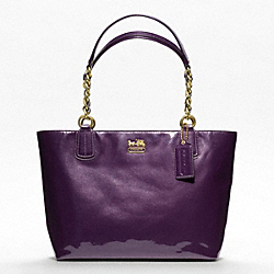 COACH MADISON PATENT TOTE - BRASS/AUBERGINE - F20484