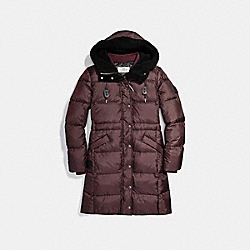 COACH SOLID LONG PUFFER - BORDEAUX - F20500