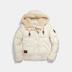 COACH SOLID SHORT PUFFER - CREAM - F20827