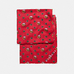 WESTERN FLOWER PRINTED OBLONG - f20880 - TRUE RED