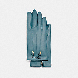 COACH TEA ROSE BOW LEATHER GLOVE - DARK TEAL - F20887