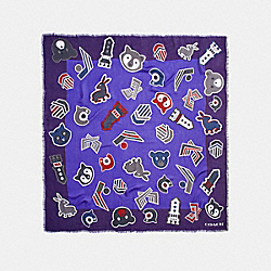 VARSITY PATCH OVERSIZED SQUARE - f20888 - PURPLE MULTI