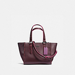 COACH CROSBY CARRYALL 21 IN NATURAL REFINED LEATHER WITH PYTHON EMBOSSED LEATHER TRIM - BLACK ANTIQUE NICKEL/OXBLOOD MULTI - F20894