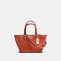 COACH CROSBY CARRYALL 21 IN NATURAL REFINED LEATHER WITH PYTHON EMBOSSED LEATHER TRIM - IMITATION GOLD/TERRACOTTA MULTI - F20895