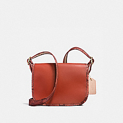 PATRICIA SADDLE 23 IN NATURAL REFINED LEATHER WITH PYTHON-EMBOSSED LEATHER TRIM - f20899 - IMITATION GOLD/TERRACOTTA MULTI