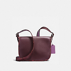 PATRICIA SADDLE 23 IN NATURAL REFINED LEATHER WITH PYTHON-EMBOSSED LEATHER TRIM - BLACK ANTIQUE NICKEL/OXBLOOD MULTI - COACH F20900