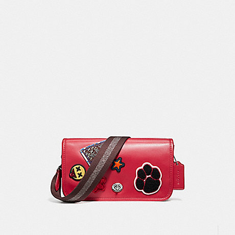 COACH f20912 PENNY CROSSBODY IN REFINED CALF LEATHER WITH VARSITY PATCHES AND WEBBED STRAP SILVER/TRUE RED