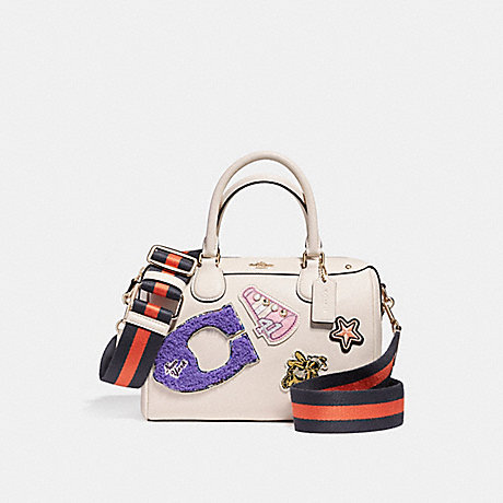 COACH MINI BENNETT SATCHEL IN CROSSGRAIN LEATHER WITH VARSITY PATCHES AND WEBBED STRAP - LIGHT GOLD/CHALK - f20915