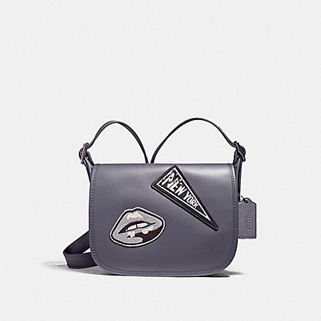 COACH f20916 PATRICIA SADDLE 23 IN REFINED CALF LEATHER WITH VARSITY PATCHES ANTIQUE NICKEL/MIDNIGHT