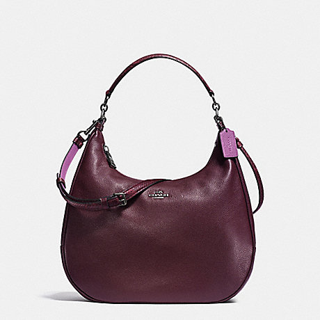 COACH EAST/WEST HARLEY HOBO IN POLISHED PEBBLE LEATHER WITH PYTHON EMBOSSED LEATHER TRIM - BLACK ANTIQUE NICKEL/OXBLOOD MULTI - f20917