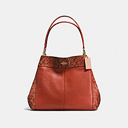 LEXY SHOULDER BAG IN POLISHED PEBBLE LEATHER WITH PYTOHN EMBOSSED LEATHER TRIM - f20920 - IMITATION GOLD/TERRACOTTA MULTI