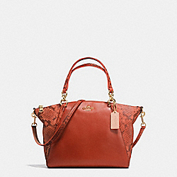 SMALL KELSEY SATCHEL IN REFINED NATURAL PEBBLE LEATHER WITH PYTHON EMBOSSED LEATHER - f20924 - IMITATION GOLD/TERRACOTTA MULTI