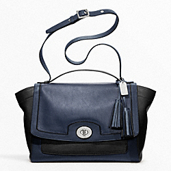 COACH COLORBLOCK LEATHER FLAP CARRYALL - ONE COLOR - F20961