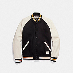 COACH WOOL LEATHER VARSITY JACKET - BLACK - F20995