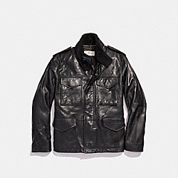 LEATHER FOUR POCKET JACKET - f20998 - BLACK