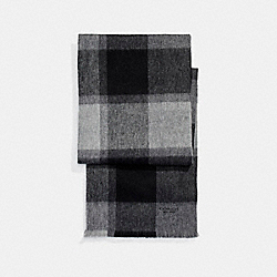 CASHMERE BLEND BIG PLAID SCARF - GRAY - COACH F21055