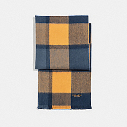 CASHMERE BLEND BIG PLAID SCARF - MIDNIGHT NAVY/FAWN/DENIM - COACH F21055