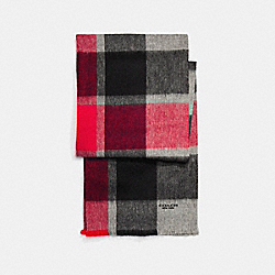 CASHMERE BLEND BIG PLAID SCARF - RED - COACH F21055