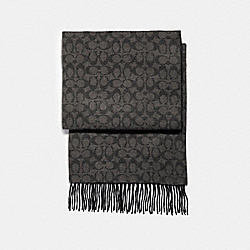 CASHMERE BLEND BI COLOR SIGNATURE C SCARF - BLACK - COACH F21056