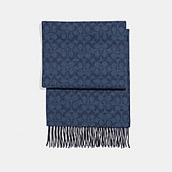 CASHMERE BLEND BI-COLOR SIGNATURE SCARF - MIDNIGHT NAVY/DENIM - COACH F21056