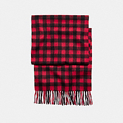COACH CASHMERE BLEND BUFFALO PLAID SCARF - RED - F21057