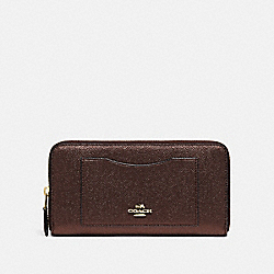 COACH ACCORDION ZIP WALLET - BRONZE/LIGHT GOLD - F21068