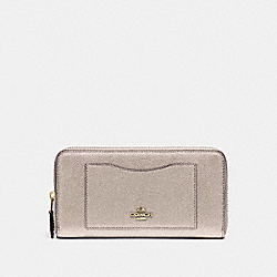 COACH ACCORDION ZIP WALLET - LIGHT GOLD/PLATINUM - F21068