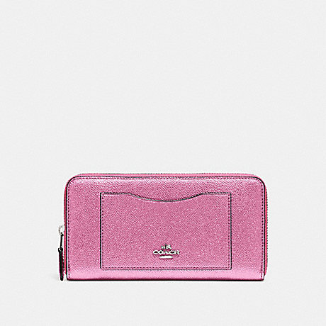 COACH ACCORDION ZIP WALLET - METALLIC BLUSH/SILVER - F21068