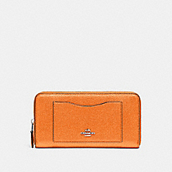 COACH ACCORDION ZIP WALLET - METALLIC TANGERINE/SILVER - F21068