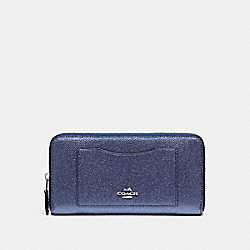COACH ACCORDION ZIP WALLET IN METALLIC CROSSGRAIN LEATHER - SILVER/METALLIC NAVY - F21068
