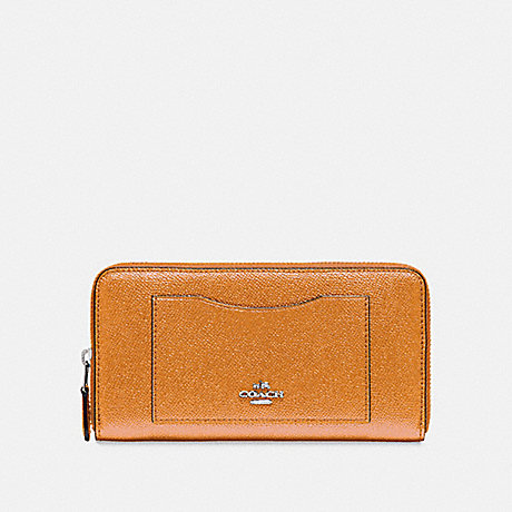 COACH ACCORDION ZIP WALLET - SILVER/ROSEGOLD - f21068
