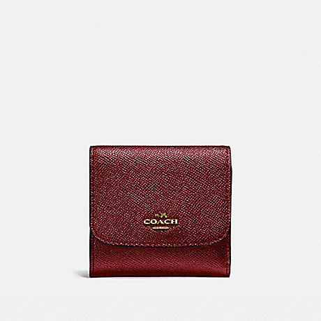 COACH SMALL WALLET - LIGHT GOLD/METALLIC CHERRY - f21069
