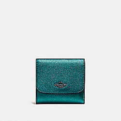 COACH SMALL WALLET - BLACK ANTIQUE NICKEL/METALLIC DARK TEAL - F21069