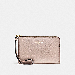 COACH CORNER ZIP WRISTLET IN METALLIC CROSSGRAIN LEATHER - LIGHT GOLD/PLATINUM - F21070