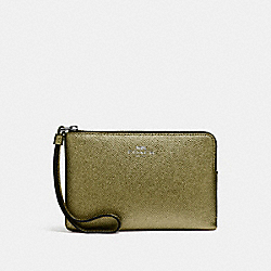 CORNER ZIP WRISTLET - BLACK ANTIQUE NICKEL/METALLIC FERN - COACH F21070