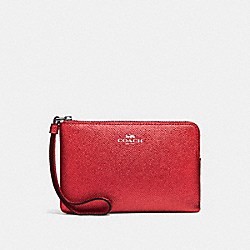 CORNER ZIP WRISTLET - f21070 - METALLIC HOT PINK/BLACK ANTIQUE NICKEL