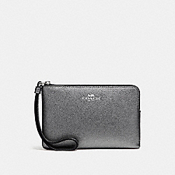 COACH CORNER ZIP WRISTLET IN METALLIC CROSSGRAIN LEATHER - SILVER/GUNMETAL - F21070