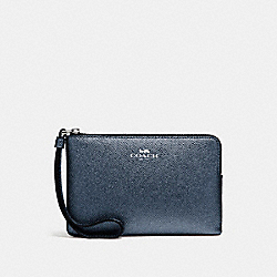 COACH CORNER ZIP WRISTLET IN METALLIC CROSSGRAIN LEATHER - SILVER/METALLIC NAVY - F21070
