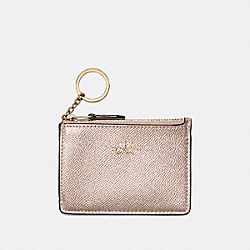 COACH MINI SKINNY ID CASE IN METALLIC CROSSGRAIN LEATHER - LIGHT GOLD/PLATINUM - F21072